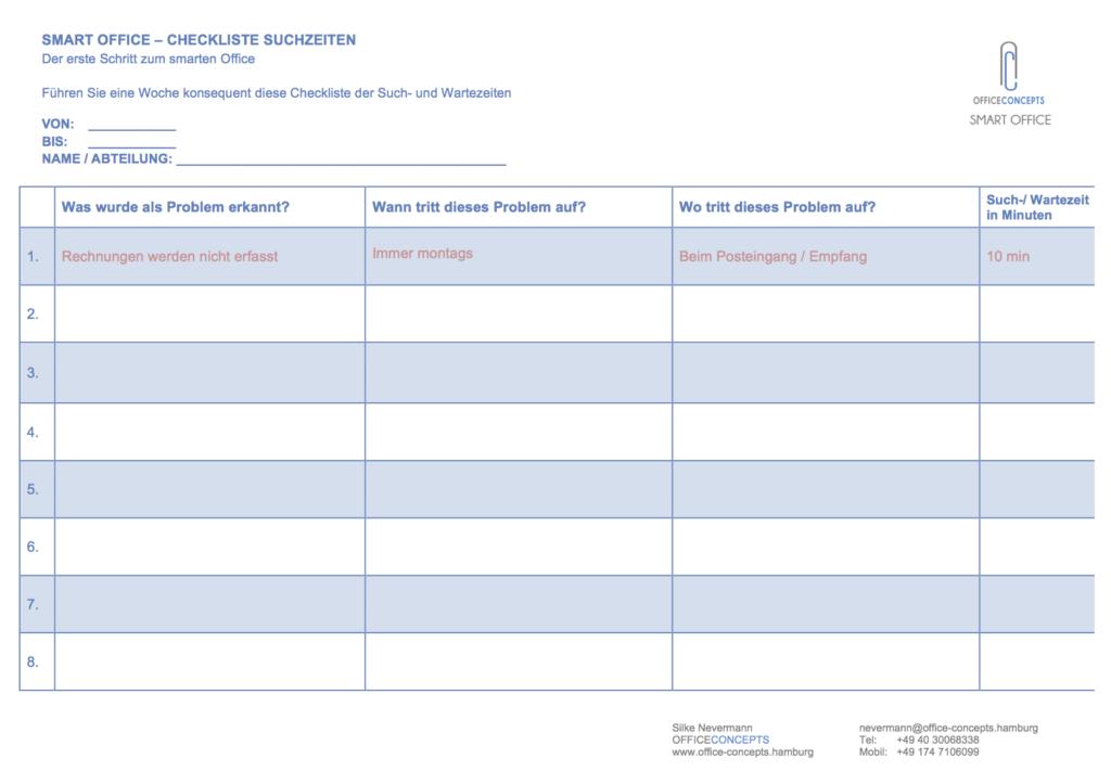 OC Checkliste Suchzeiten